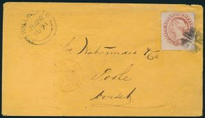 Lot 702 cover 2—1871 Newfoundland twelve cent pale red brown Victoria cover Fogo to Twillingate to St. John's to Halifax to Queenstown to Liverpool to Poole England