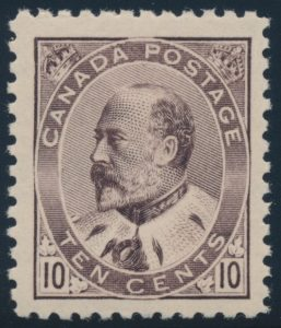 Lot 102, Canada 1903 ten cent brown lilac Edward VII, XF NH, sold for $3220