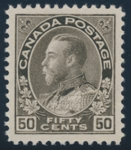 Lot 117, Canada 1925 fifty cent black brown Admiral, dry printing, XF NH, sold for $575