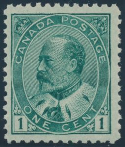 Lot 93, Canada 1903 one cent KEVII green shade, VF-XF NH, together sold for $460
