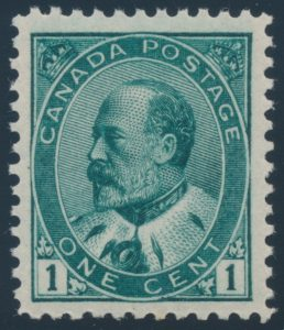 Lot 93, Canada 1903 one cent KEVII blue green shades, VF-XF NH, sold together for $460