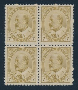 Lot 100, Canada 1903 seven cent olive bistre KEVII, F-VF NH block of four, sold for $1725