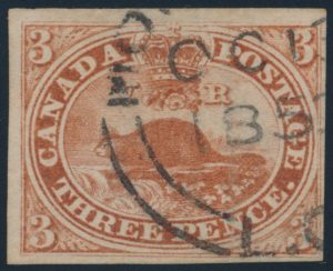 Lot 12, Canada 1852 three penny beaver, brown red, VF used with Montréal cancel, sold for $218