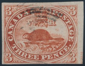 Lot 16, Canada 1852 three penny Beaver imperforate, Fine used with part plate inscription, sold for $230