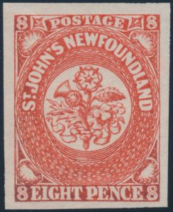 Lot 264, Newfoundland 1857 six pence scarlet vermilion, VF NH, sold for $1208