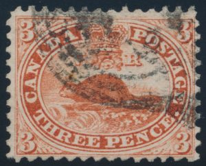 Lot 31, Canada 1859 three cent red Beaver, used, sold for $402