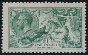 Lot 348, Great Britain 1913 £1 green Britannia, Waterlow printing, Fine hinged, sold for $1323