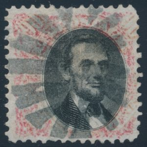 Lot 404, United States 1875 twenty cent carmine & black Lincoln with Grille, used, sold for $253