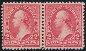 Lot 405, United States 1894 two cent carmine Washington, Type II & III, F-VF NH sold for $431