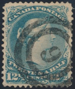 Lot 48, Canada 1868 milky blue 12-1/2c Large Queen with ideal strike of London #6, sold for $150