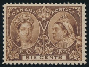 Lot 72, Canada 1897 six cent yellow brown Jubilee, VF NH, sold for $345