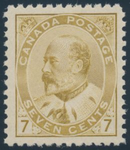 Lot 101, Canada 1903 seven cent straw KE VII, VF NH, sold for $805