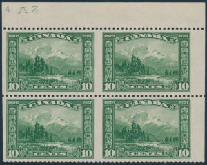 Lot 146, Canada 1928 ten cent Mount Hurd, imperf pair, VF NH plate block of four, sold for $546