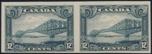 Lot 147, Canada 1929 twelve cent grey Québec Bridge imperf pair, F-VF NH, sold for $253