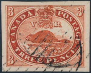 Lot 19, three penny red beaver Oneglia Forgery, sold for $253