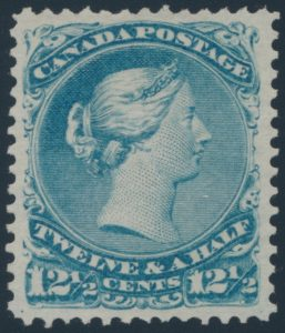 Lot 130, Canada 1868 twelve and a half cent blue Large Queen with variety, XF NG
