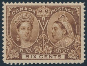 Lot 193 Canada #55i 1897 6c yellow brown Jubilee XF NH, sold for $3335