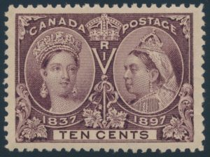 Lot 200 Canada #57 1897 10c brown violet Jubilee XF NH, sold for $862.50