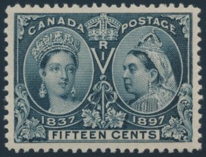 Lot 202 Canada #58 1897 15c steel blue Jubilee XF NH, sold for $2990