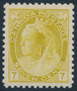 Lot 253, Canada 1902 seven cent olive yellow Numeral, XF NH, sold for $920