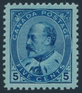 Lot 272, Canada 1903 five cent blue Edward VII, XF NH, sold for $3220 in January 2018.