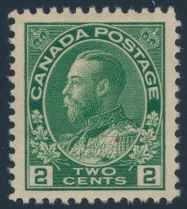 Lot 299, Canada 1923 two cent yellow green Admiral, dry printing, XF NH, sold for $104