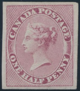 Lot 47 Canada #8 1857 ½d rose Queen Victoria Imperforate, unused (no gum)