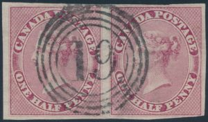Lot 50 Canada #8 1857 ½d deep rose Queen Victoria Imperforate, used horizontal pair