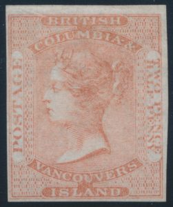 Lot 527, British Columbia two and a half pence dull rose, F-VF NG