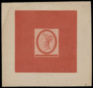 Lot 556, Prince Edward Island non-denominated Large Die Essay in deep red orange