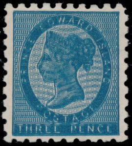 Lot 570, PEI 1861 three pence blue Victoria with double impression, unused NG, sold for $4140