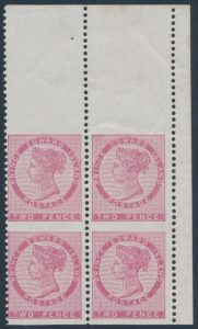 Lot 588, PEI 1862 five pence Victoria, VF mint block of four imperf horizontally