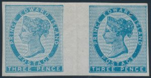 Lot 604 Prince Edward Island #6g 1862 3d blue Queen Victoria Imperforate Wide Gutter Pair, VF o.g.