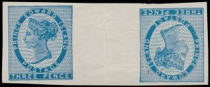 Lot 605 Prince Edward Island #6g 1862 3d blue Queen Victoria Imperforate Tête Bêche Wide Gutter Pair, unused no gum