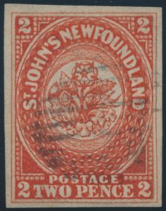 Lot 657, Newfoundland 1857 two pence scarlet vermilion with grid cancel, XF used