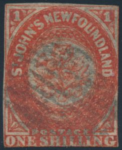 Lot 661, Newfoundland 1857 one shilling scarlet vermilion Heraldic, Fine used, sold for $1380