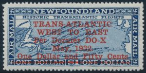 Lot 677, Newfoundland 1932 $1.50 on $1 Dornier DO-X surcharge, XF NH