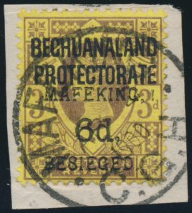 Lot 717 Bechuanaland Protectorate 1900 6d on 3d violet and yellow
