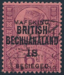 Lot 718, 1900 British Bechuanaland six pence purple used with 1 shilling Mafeking surcharge