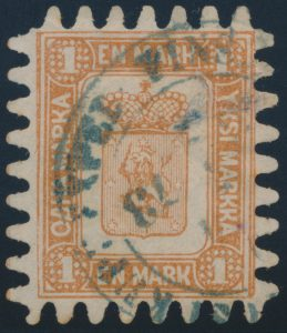 Lot 815, Finland 1867 1m yellow brown Coat of Arms, used with c.d.s.