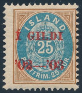 Lot 828, Iceland 25a mint with 02-03 overprint in red