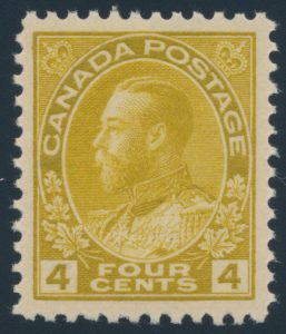 Lot 304, Canada 1922 four cent olive bistre Admiral, wet printing, XF NH, sold for $632