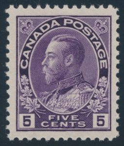 Lot 309 Canada #112 1922 5c violet Admiral, Wet Printing, mint never hinged, fresh and very fine, sold for $276.
