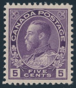 Lot 312 Canada #112c 1925 5c violet Admiral with Retouched Vertical Line in Upper Right, Dry Printing, mint never hinged, fresh and very fine, sold for $431