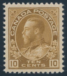 Lot 325, Canada 1925 ten cent bistre brown Admiral, XF NH, sold for $374
