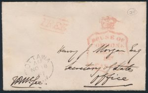 Lot 912, Canada 1867 cover from Thomas D'Arcy McGee, sold for $1035