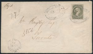 Lot 117, Canada 1875 5c olive green Large Queen registered cover, Hamilton to Toronto, sold for $1265