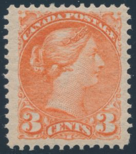 Lot 155, Canada 1890 three cent bright vermilion Small Queen, VF NH, sold for $253