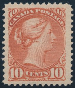Lot 162, Canada 1897 ten cent red brown Small Queen, XF NH, sold for $2415