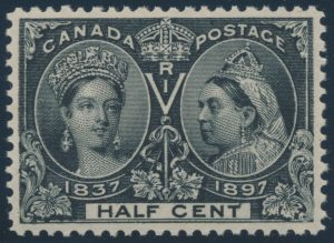 Lot 173, Canada 1897 half cent black Jubilee, VF NH, sold for $575